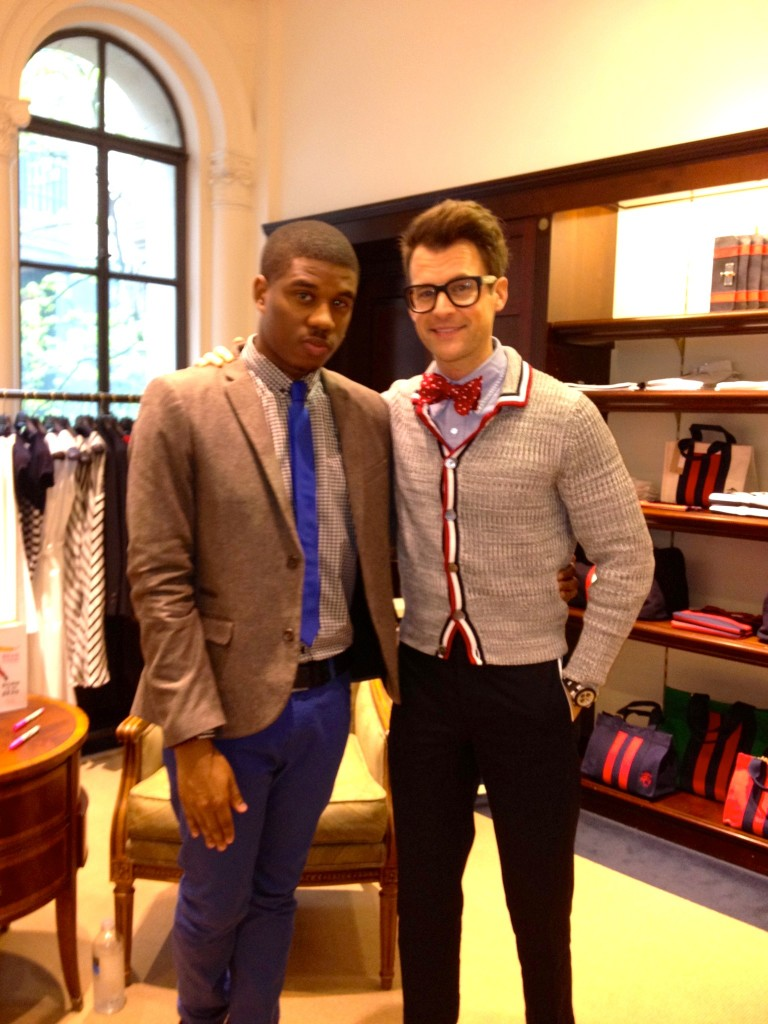 ChiTown Fashionista's Gabriel Charles Tyler posing with Brad Goreski at Brooks Brothers