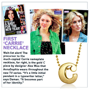 "Alex Woo's Little Letter ""C"" in 14kt Gold serves as the signature accessory of young Carrie Bradshaw. Photo Credit: Alex Woo."