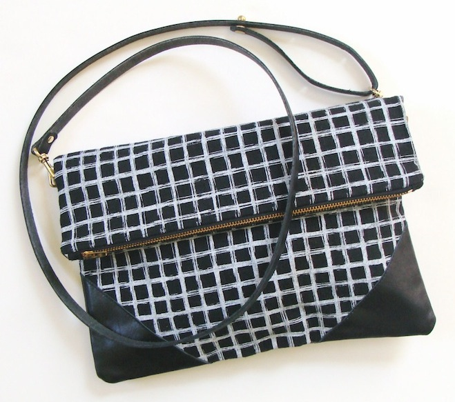 White Screen Printed Grid on Black Linen Fold Over Clutch with Adjustable and Removable Strap