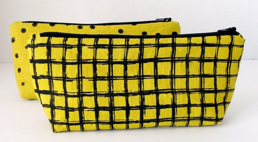 Screen Printed Chartreuse Linen Pouch