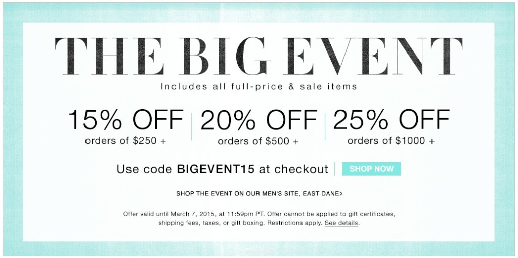 shopbop sale the big event 2015
